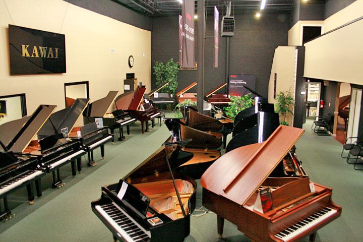 Grand pianos and new instruments, featuring Kawai, Shigero